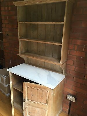 Vintage Pine Dresser Jersey/French With White Marble Top