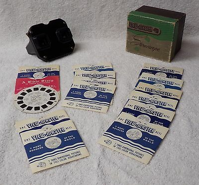 Sawyer's View Master w 15 Stereoscopic Picture Reels USA Cities National Parks +