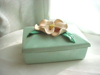 Vtg Blue Trinket Box with Pink Flower 3 by 5 inch Ceramic