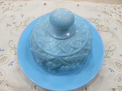 Mint Blue Milk Glass Domed Butter Cheese Dish Round Cherries Pattern