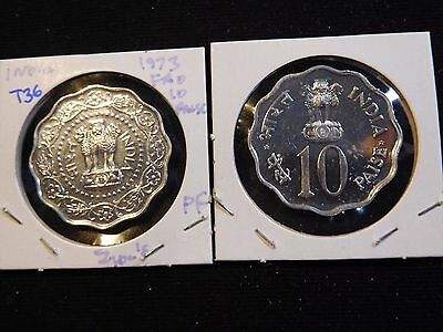 INV #T36 India 1973 F.A.O. 10 Paisa Proof 2 Pieces
