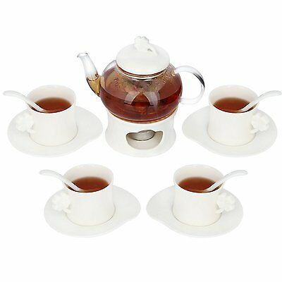 Kendal 20 oz tea maker teapot with a warmer, 4 sets of Cup & Saucer and Spoon s5