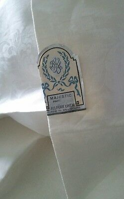 Antique Trousseau Belgium Linen Damask Chrysanthemum Tablecloth~Napkins Md Mono