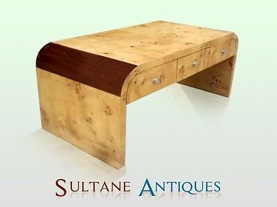 Elegant Large 3 drawers two toned Art Deco coffee table