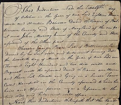 1819 antique DEED hampstead baltimore county md WILLIAMS to MURRAY rease dec'd