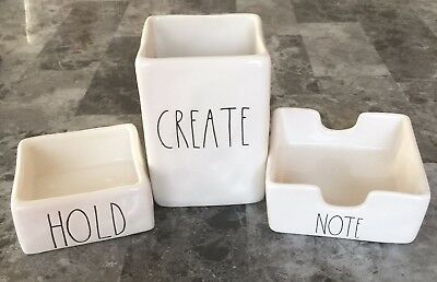 New! Rae Dunn CREATE HOLD NOTE Complete Office SET! Desk Pencil Pen Holder