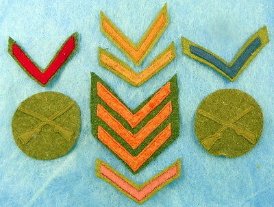 Lot Of Us Ww1 Cloth Uniform Insignias For Rank And Service