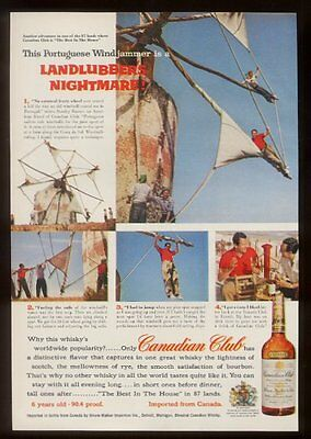 1957 Portugal windmill photo Canadian Club whisky vintage print ad