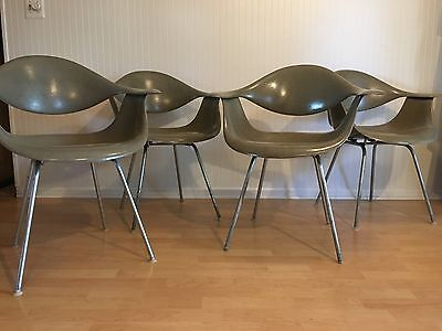 Herman Miller George Nelson Fiberglass Swag Arm Chairs 1958 Uber Rare! Raw Umber