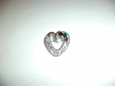 Sterling Silver Heart Rhinestone Pin Signed Dce