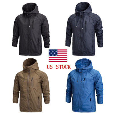 Men Zipper Multi-Pocket Hooded Jackets Waterproof Coats Thin Casual Wind-Breaker