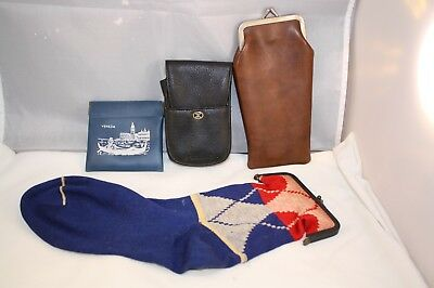 Assortment of Vintage Change Coin Purses Sock Purse Cigarette Case Purses