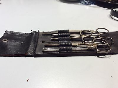 Antique doctor's pocket surgery kit in leather pouch - 6 pcs
