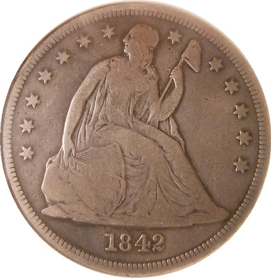 1842 Liberty Seated Silver Dollar $1  Old ANACS VG10