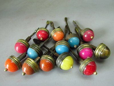 A Set Of (14) Chinese Snuff Bottle Tops & Spoons