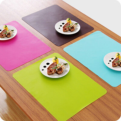 Rectangle 40*30cm Silicone Placemat Heat Resistant Non-Slip Table Mat Candycolor
