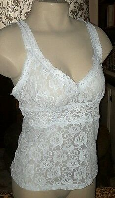 Vintage Delicates All Nylon Lace w Spandex Camisole Top Under/Outer Wear Blue L