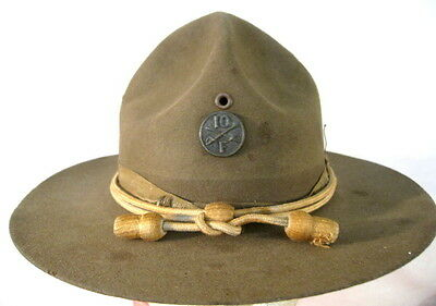 WWI US Army M1911 Montana Peak Campaign Hat - 10th Cavalry Emblem & Hat Cords