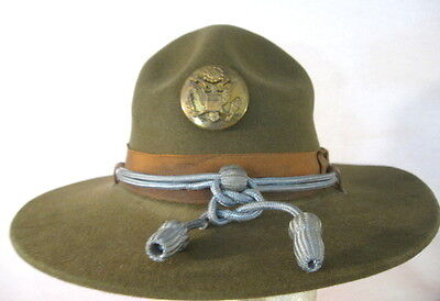 WWII US Army M1911 Montana Peak Campaign Hat - Infantry Hat Cords &  NCO Emblem