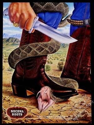 1978 Nocona boote cowboy and rattlesnake art full-size vintage print ad