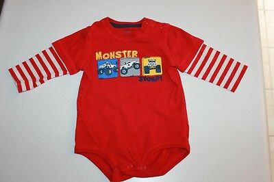 EUC Darling Baby Carter's 9 Month Boys One Piece Top/Shirt Monster Trucks Stomp!