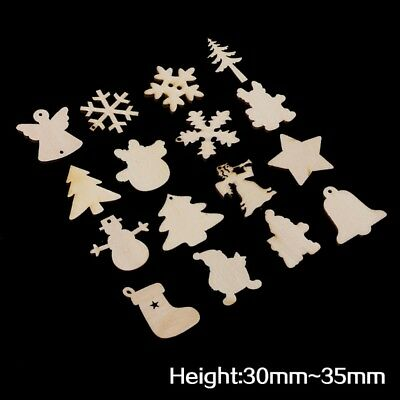 50Pcs Wooden Embellishment Christmas Tree Deer Snowflake Shapes Craft Decoration