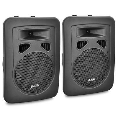 "Skytec 8"" Speakers Active DJ PA Speaker Set - XLR 200W with Stand Mount"
