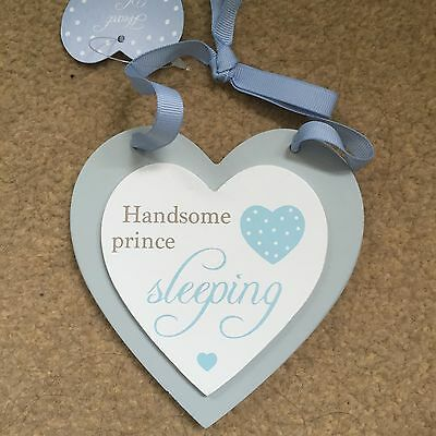 Baby Boy Hanging Heart - Ideal Gift/Nursery Decoration Or Christening Gift