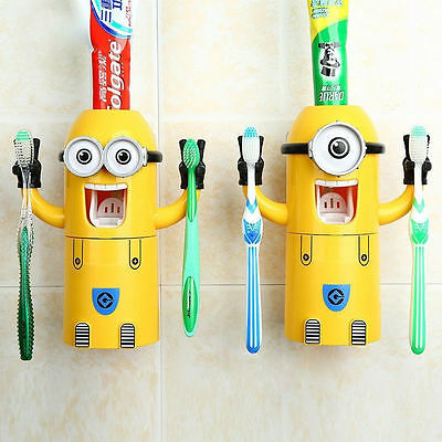 Kids Children Automatic Cartoon Toothbrush Holder Toothpaste Dispense Cute Gift