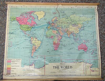 Old Philips' School Room Map of the World - Wall Chart from 1959 - Political