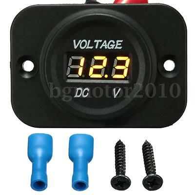 12V 24V Car Van Boat Marine Motorcycle LED Voltmeter Voltage Meter Gauge US