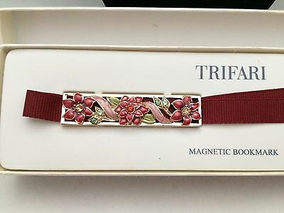 Nib Trifari Maroon Flowers Long Magnetic Book Marker