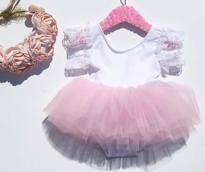 UK Newborn Kids Baby Girls Pink Romper Party Lace Tutu Dress Clothes Outfit 0-3Y
