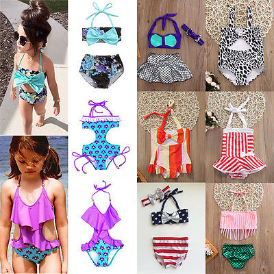 UK Toddler Baby Kids Girls Bikini Set Bathing Suit Swimwear Swimsuit Beachwear