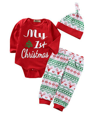UK 3PCS Newborn Baby Boys Girls Christmas Xmas Clothes Romper Pants Hat Outfits