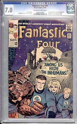 Fantastic Four # 45  1st appearance of the Inhumans !  CGC 7.0 scarce book !