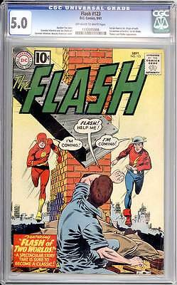 Flash # 123  Classic Flash of Two Worlds story !  CGC 5.0 scarce book !