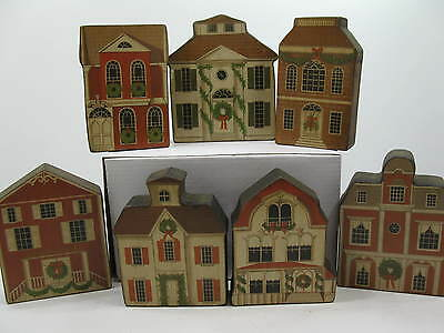 Set of 7 Wood Shelf Christmas Houses Homes Village / Stampinsisters