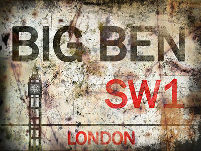 Big Ben  London Street Metal Sign:wall Plaque:man Shed:home Pub:gifts
