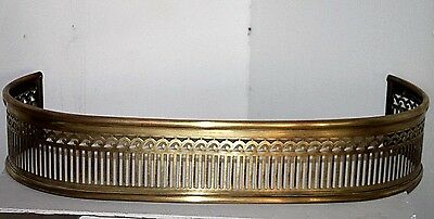 Antique Pierced Brass Fireplace Fender Surround. Rare Size, W/ Curved Sides.