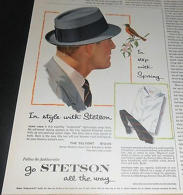 "1958 Stetson ""telfont"" Hat + Shirts & Ties Ad In Step With Spring"