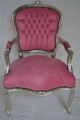 Baroque armchair Louis XV style - pink/silver