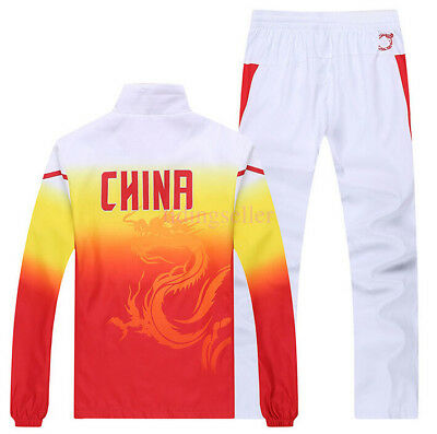 Chinese team sportswear embroidery Flag Men's clothing Jacket Coat+ Pants Suit