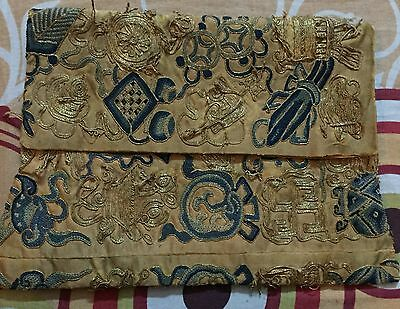 Antique Chinese Qing Dynasty Hand Embroidered Purse