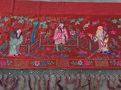 """An Exceptional Chinese Qing Dynasty Embroidered Panel. Wall Hanging 38"""" By 166"""""""