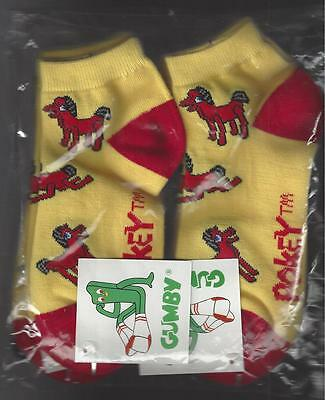 6 Pair Pokey Yellow with Red Toe Ankle Socks New Never Worn Size 9-11 From Gumby
