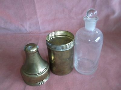 vintage/antique apothecary bottle with brass case, screw top, scientific...
