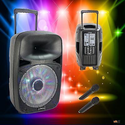 """Party 15"""" 125w Portable Battery & Mains Speaker USB, Bluetooth & Wireless Mic"""