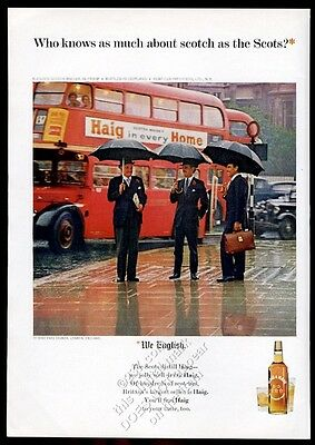 1965 double-decker bus London photo Haig & Haig Scotch whisky vintage print ad