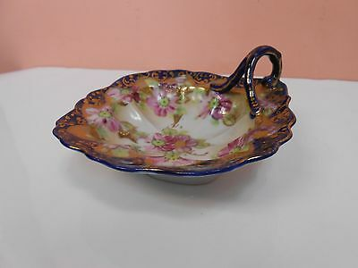 Vintage Antique Porcelain Nappy Dish Blue with Gold, Pink Flowers